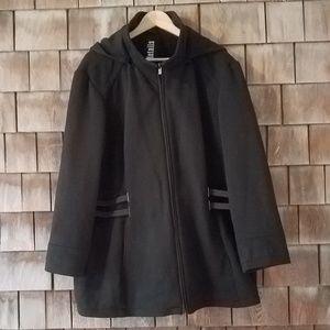 Black Hooded Zipper Plus Size Jacket Coat 2X